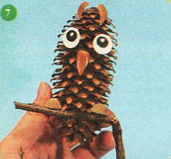 Поделка из шишек мудрая сова для первого