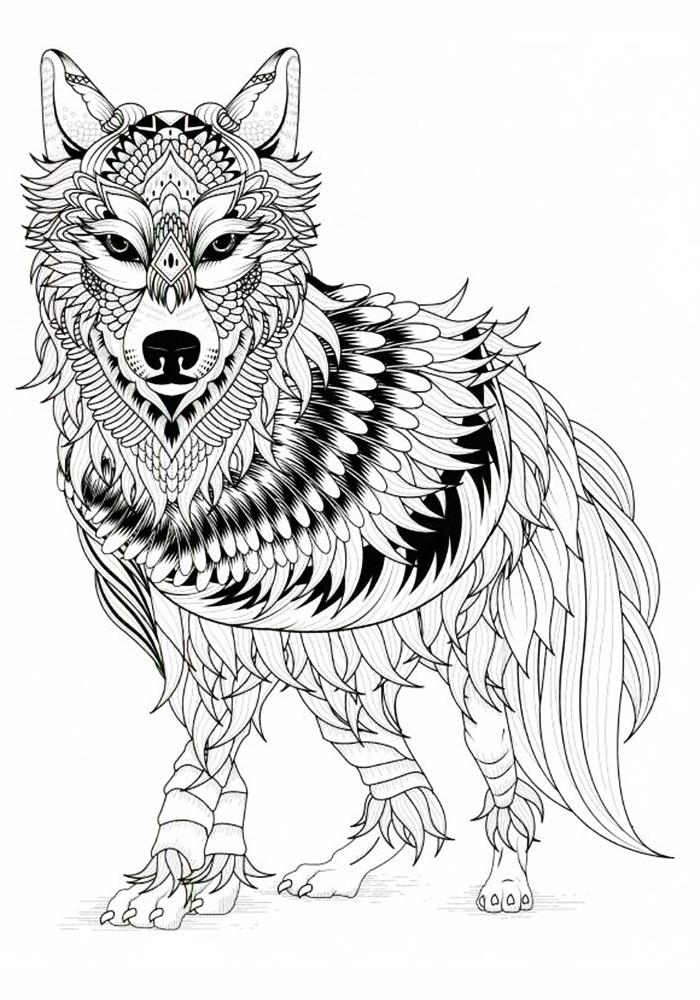 Антистресс раскраски волки