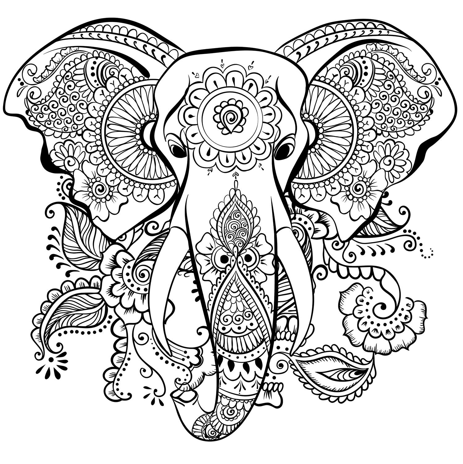 Раскраски антистресс слоны
