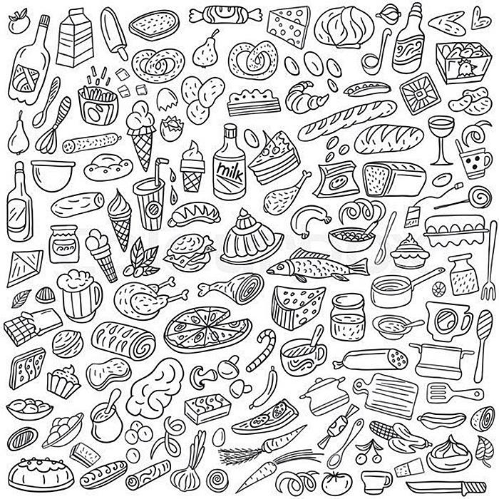 раскраски антистресс еда