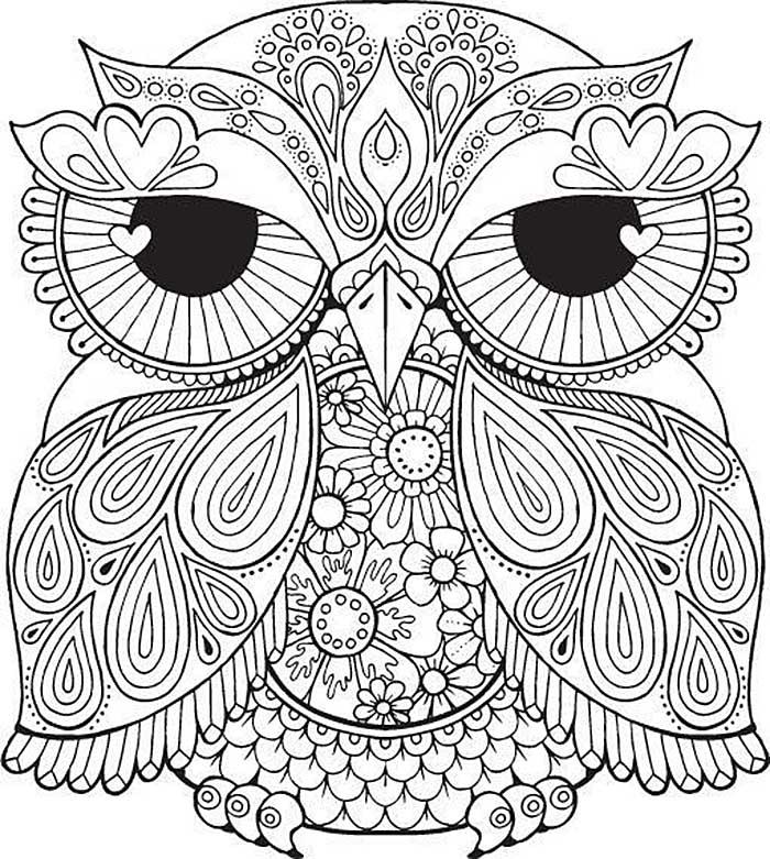 Раскраски для девочек 12 лет сложные совы