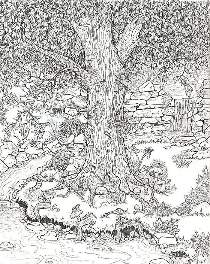 сказочный лес рисунки карандашом помощью ножниц