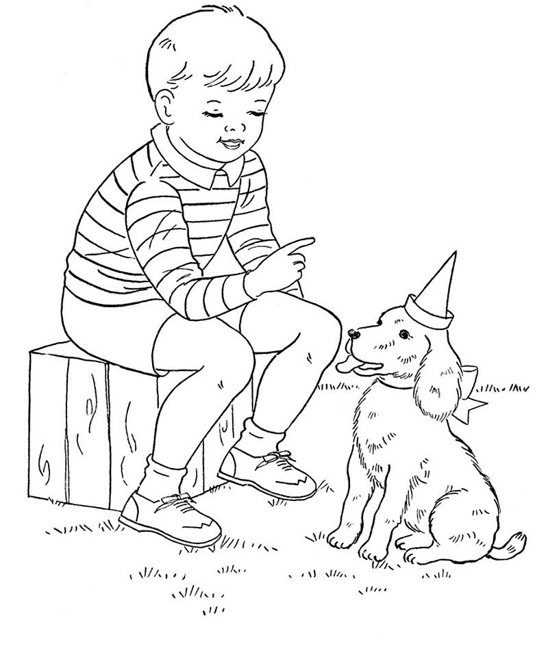 картинка человек и собака раскраска китайцев