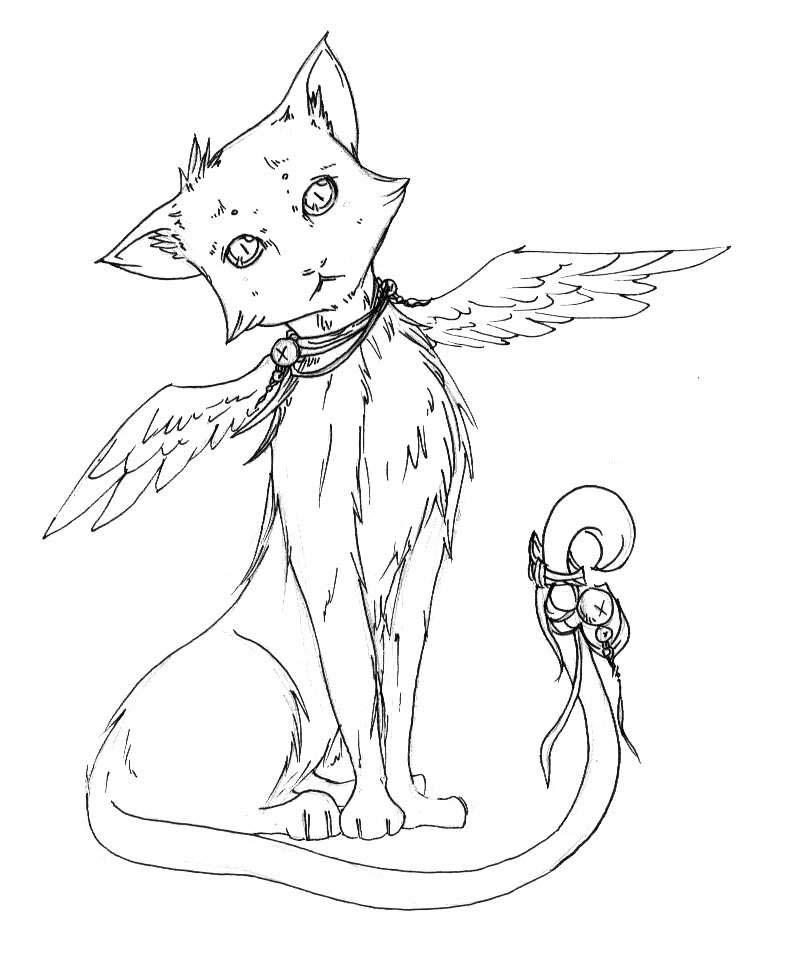 Картинки кошек с крыльями для срисовки
