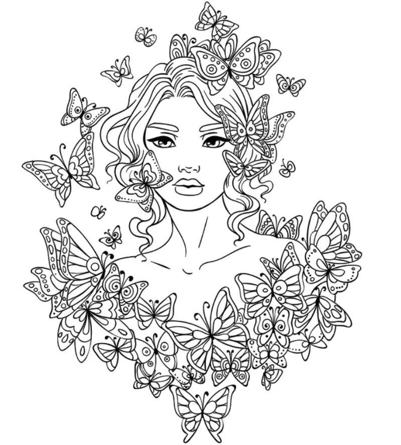 Раскраска антистресс девушки картинки