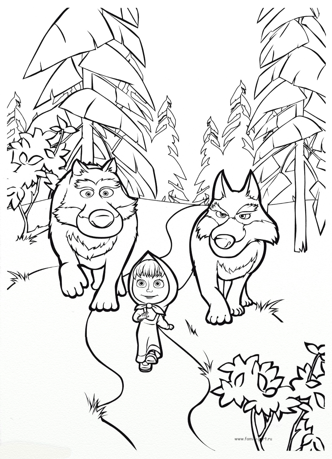 Маша и медведь - Раскраски
